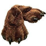 Grizzly Bear Paw Furry Slippers - Men & Women - Size Medium