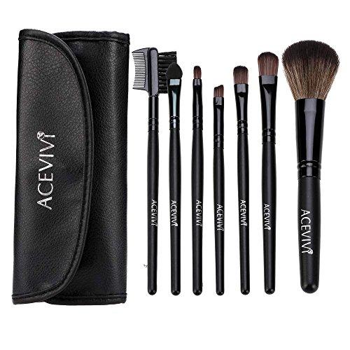 ACEVIVI Classic 7 pcs Black Eyeshadow Brush Makeup Portable Makeup Brushes