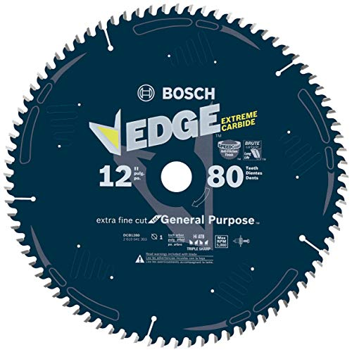 Fine Finish Blade - Bosch DCB1280 Daredevil 12-Inch 80-Tooth Extra-Fine Finish Circular Saw Blade