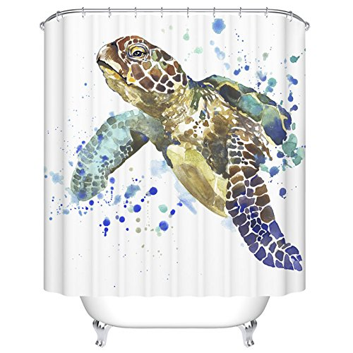 Ormis 72 X 72 Inch Watercolor Sea Turtle Bathroom Shower Curtain - Fashion Print Polyester Fabric Bathroom Accessories Home Decoration