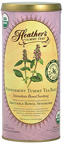 Heather's Tummy Teas Organic Peppermint Tea for IBS, 36 Jumbo Teabags