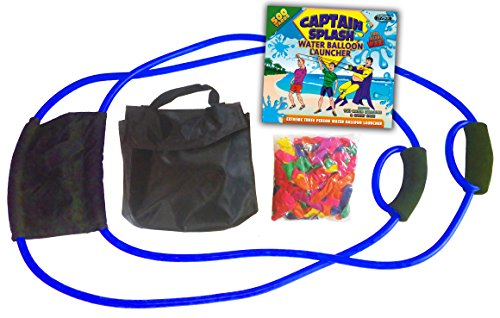 Water Balloon Launcher 500 Yards by Captain Splash, 3 Person Slingshot Cannon Catapult, 150 FREE Water Balloons & Carry Case Included (Blue, Extra Strong Latex Sling) 2019 Edition. Outdoor Games by Vivorr (Image #1)