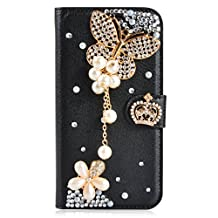 Huawei Ascend Mate 2 Case,Gift_Source [Card Slot] [Kickstand Feature] 3D Bling Crystal Handmade Diamond Leather Wallet Magnet Flip Folio Case for Huawei Ascend Mate 2 [Black Butterfly]