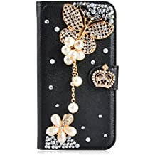 Alcatel A3 XL Case,Gift_Source [Card Slot] Luxury Bling Rhinestone Magnetic Wallet PU Leather Purse Crystal Case Flip Stand Cover for Alcatel A3 XL (6.0 inch) [Black Butterfly]