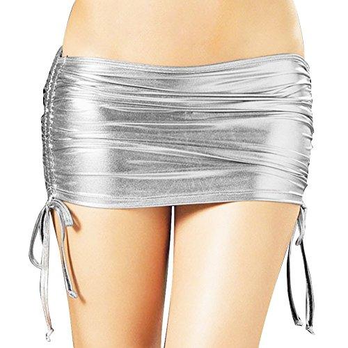 TiaoBug Womens Shiny Metallic Pleated Clubwear Party Mini Skirt with Inside Panty Silver