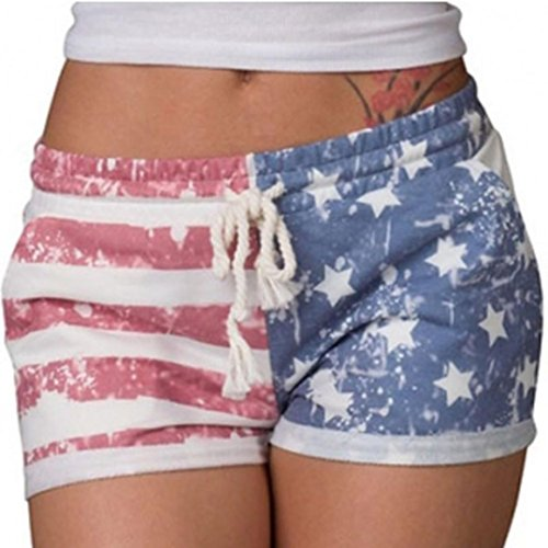 Fourth of July American Flag Women Girls Sexy Drawstring Shorts, Leewa (Multicolor, )