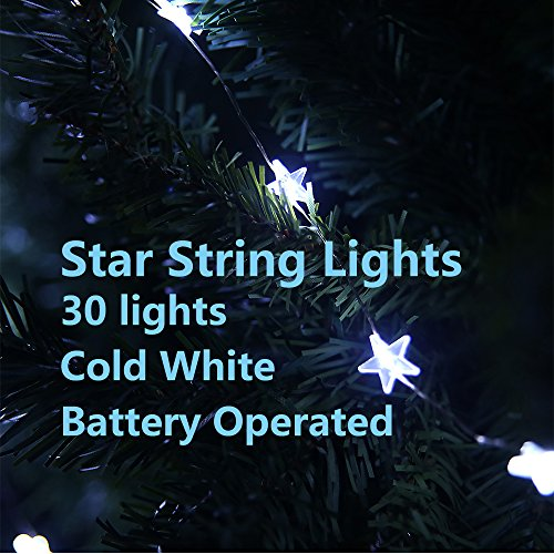 LIDORE® Micro LED 30 Blinking Star Xmas tree lights. Warn white. 3AA Battery Operated. 7ft Long Silver coating Ultra Thin String Wire. Timer function
