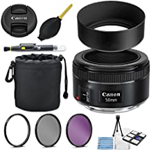 Canon EF 50mm f/1.8 STM Lens + 49mm Metal Lens Hood + Lens Pouch + HD Filter Kit + Blower + Pen + Started Kit
