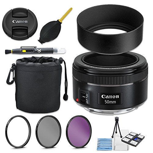 - Canon EF 50mm f/1.8 STM Lens + 49mm Metal Lens Hood + Lens Pouch + HD Filter Kit + Blower + Pen + Started Kit