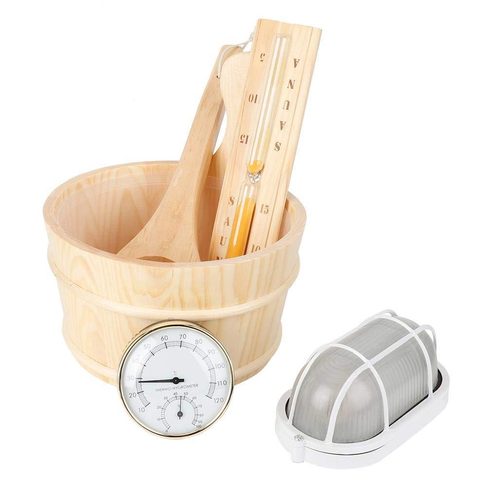 Jeffergarden 5Pcs/Set Sauna Tool Bucket + Scoop + Sand Clock + Thermometer + Explosion Proof Light Accessory by Jeffergarden