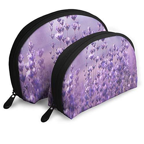 Guali Portable Shell Makeup Storage Bag Nature Lavender Flowers Field Beatuiful Travel Makeup Clutch Bag Handbag Phone Cash Coin Purse (Set Of 2)