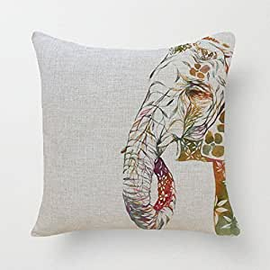 CCTUSGSH Elephant Patterns Cotton Throw Pillow Case Cushion Cover 18 X 18 Inches One Side