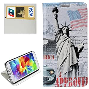 Statue of Liberty Leather Case with Credit Card Slot & Holder for Samsung Galaxy S5 / i9600
