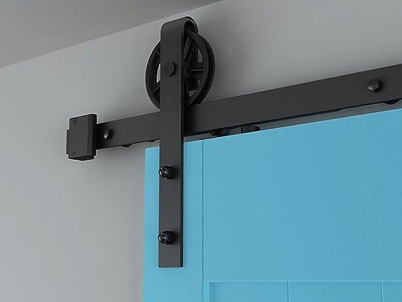 AiHom 2.44m puertas acero puerta corrediza de granero Hardware Herraje para Puerta de Granero Corredera de madera: Amazon.es: Bricolaje y herramientas