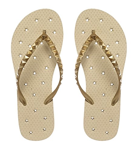 Showaflops Womens' Antimicrobial Shower & Water Sandals for Pool, Beach, Dorm and Gym - Golden Sand 9/10 by Showaflops (Image #1)