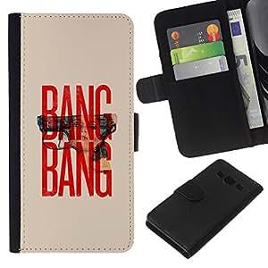 Stuss Case / Funda Carcasa PU de Cuero - Pistola Texto Rojo Beige Guerra minimalista - Samsung Galaxy A3