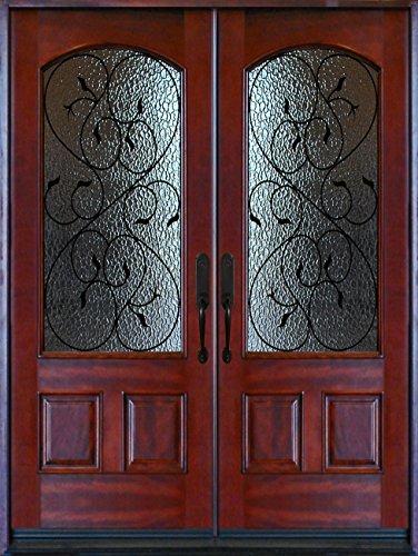Exterior Front Entry Double Valencia Wood Door - Double Entry Doors