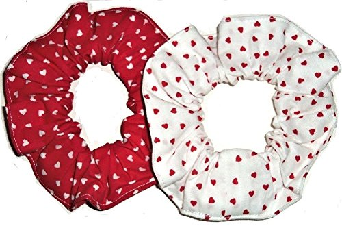 2 Valentines Day Hearts Hair Scrunchies Handmade by Scrunchies by Sherry