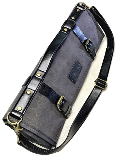 Chef Knife Roll | Knife Bag for Chefs | Waxed Canvas and PU Leather | W/ Cotton Pouch Bag and Adjustable Shoulder Strap | Vintage Style | Grey | Handmade