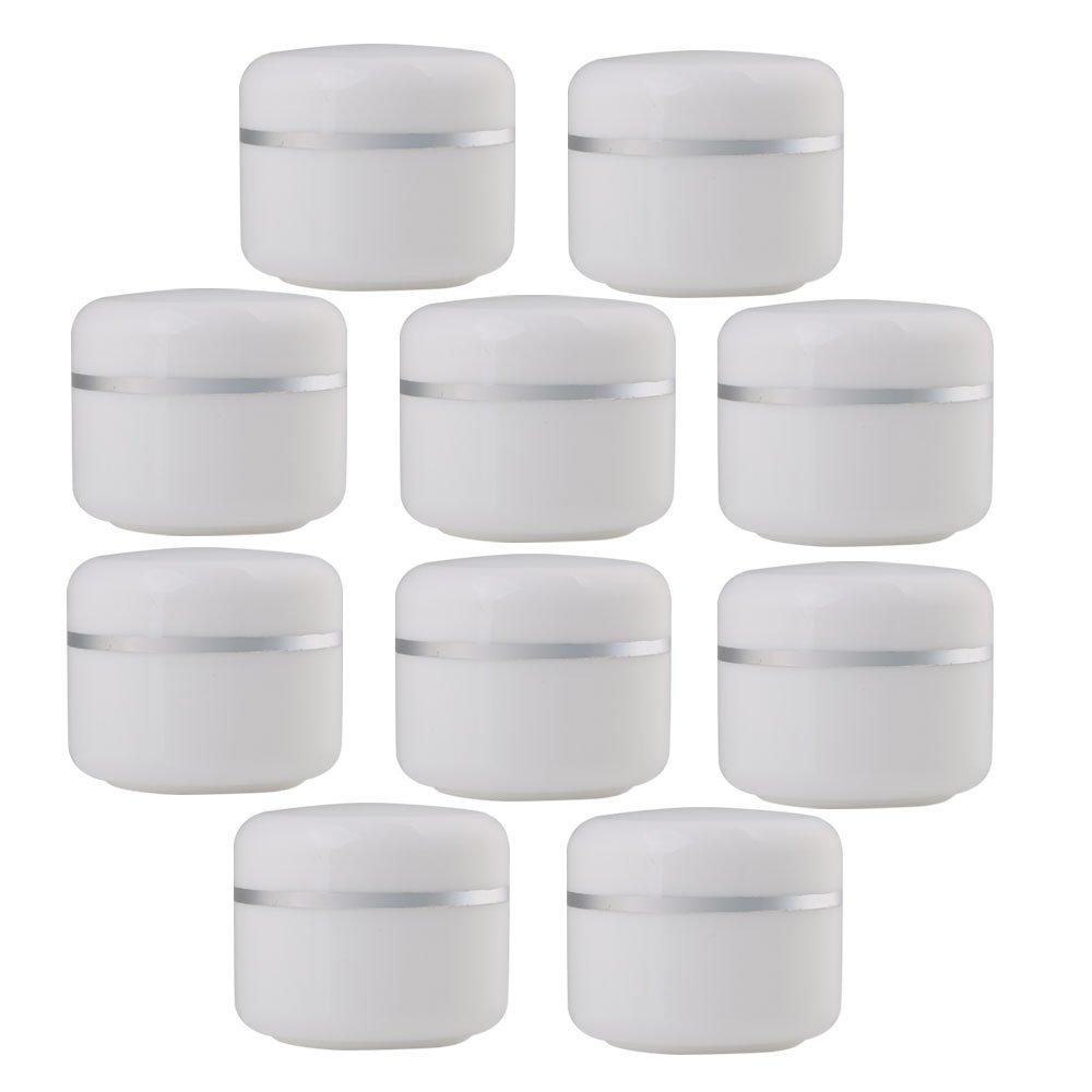 Yibuy 10PCS fai da te in plastica bianco vuoto cosmetici contenitori barattoli vasetti 30g etfshop
