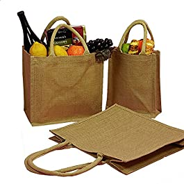 (Pack of 12) Jute/Burlap Tote Bags Soft Cotton Handles Laminated Interior (Small, Navy)