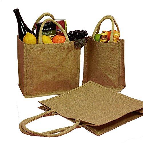 Natural Burlap Tote Bags Reusable Jute Bags with Full Gusset (Pack of 6) (Small, Natural)