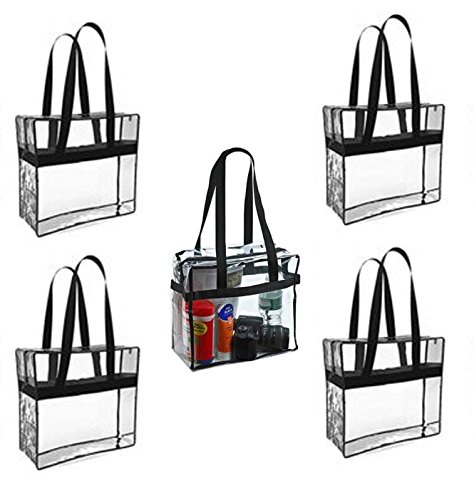 5 Pack Large Size Clear Stadium Tote Bag - Perfect for Any MLB Park, Stadium or Arena Entry (black)