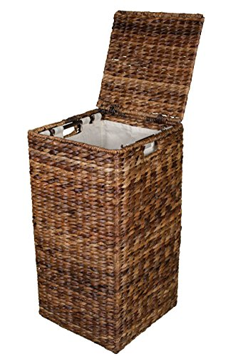 Birdrock Home Seagrass Laundry Hamper | Hand Woven | Renewable | Long Lasting (Square Abaca Hamper) (Laundry Basket Rattan)