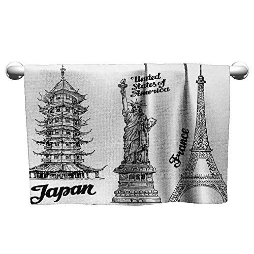(alisoso Eiffel Tower,Kids Towels Famous Monuments Statue of Liberty Eiffel Tower Japanese Temple Urban Artsy Dry Fast Towel Black White W 28