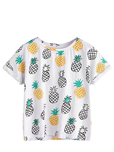 Romwe Women's Pineapple Print Roll Cuff Short Sleeve T-Shirt Tops White - Pineapple Shirt T