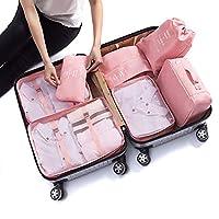 Organizador de viaje, IFORU 6 En 1 Bolsas de Viaje (3 Bolsa de Malla + Lavandería Bolsa + Toiletry Bolsa + Bolsa de Zapato)Travel Organizer 6 Cube Organizer Ideal para Organizar Maletas de Mano (Grande, Rosa)