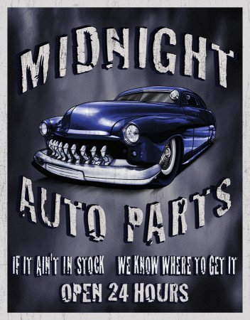 Legends - Midnight Auto Parts Metal Tin Sign , 12x16 by Poster Discount