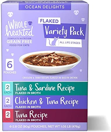 WholeHearted Grain Free Ocean Delights Flaked Wet Cat Food Variety Pack for All Life Stages
