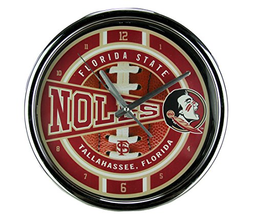 - The Memory Company Plastic Wall Clocks Florida State University Seminoles Wall Clock Chrome Finished Frame 11.5 X 11.5 X 1.75 Inches Red
