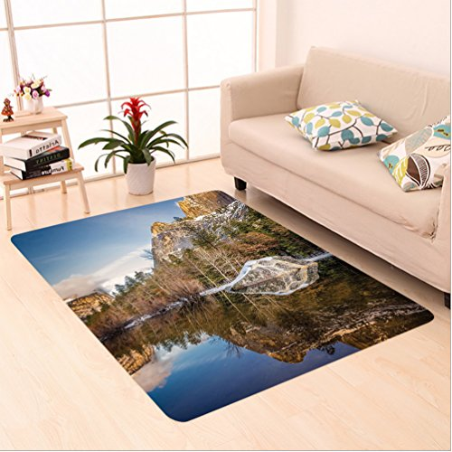 Nalahome Custom carpet cor Yosemite Mirror Lake and Mountain Reflection on Water Sunset Evening View Picture Navy Brown area rugs for Living Dining Room Bedroom Hallway Office Carpet (6.5' X 10') by Nalahome