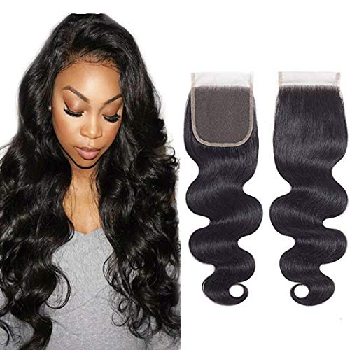 8A Brazilian Closure Body Wave 100% Unprocessed Virgin Human Hair Lace Closure 4X4 Free Part Natural Black (12Closure, Body Wave)