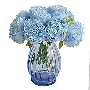 Eternal Blossom Silk Peony Bouquet, 5 Artificial Bouquets Bridal Bouquet Wedding Party Flower Home Garden Decoration (Light Blue) 16