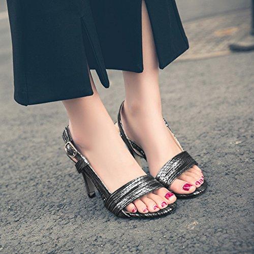 Slingback Arbeit Offene Schwarz Riemchen Sandale Sexy Damen Schlangenmuster Zehen Aisun Für Stiletto tvYawx