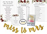 Bridal Shower Games Bundle with Bonus Miss to Mrs Gold Glitter Banner & Cake Topper | Wishes for the Bride Cards | He Said She Said | How Well do you Know the Bride | Find The Guest | 50 Sheets Each