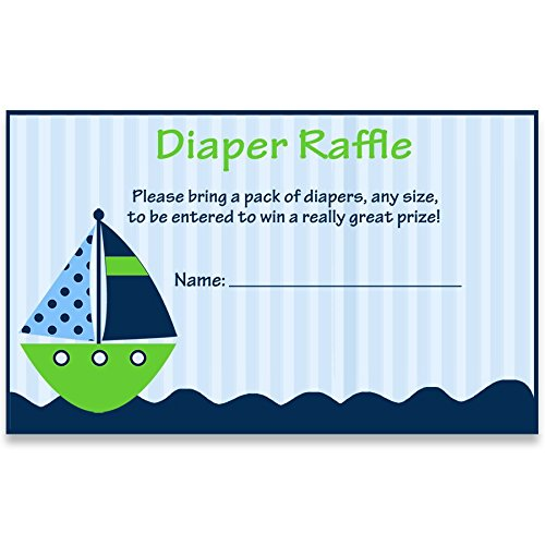 Nautical Baby Shower diaper Raffle Ticket, Anchors Away, Stripes, Boys, Navy, Blue, Green, Whale, Ship, Sailboat, Sprinkle, Personalized, Set of 24 Printed Cards, Diaper Ticket, Ahoy It's a Boy