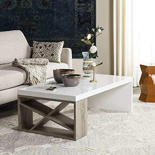 Safavieh Home Collection Carlton White Lacquer and Light Oak Side Coffee Table