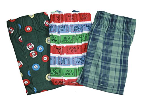 GAP Mens Printed Boxers 3-Pairs Boxer Shorts (XL X- Large) (Green-Blue Plaid, Admission Tickets, Pool (Ball Ticket)