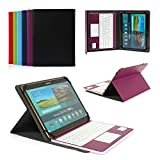CoastaCloud Pu Leather Folio Bluetooth Keyboard Case Cover for Samsung Galaxy Tab S2 9.7 T815C/T810 and Tab A 9.7 T555C/T550 with QWERTY Layout Removable Keyboard and Touchpad Purple