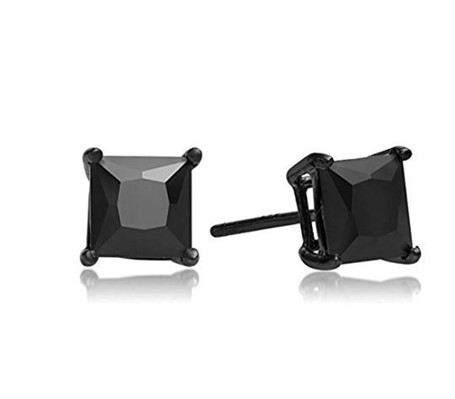 Surgical Stainless Steel Studs Earrings Men, Women, Girls, Boys BLACK Square Princess Cut Basket Setting BLACK Cubic Zirconia Hypoallergenic Earrings WITH A FREE GIFT BLACK ROUND STUDS EARRINGS (8MM)