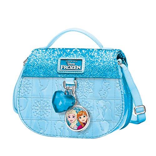 DISNEY Frozen Cuore Magico - Borsa Piccola Da Bambina con Tracolla - Effetto Glitter Colore Celeste