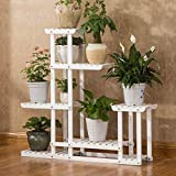 ALUS- White Solid Wood Multilayer Floor Style Flower Pot Rack