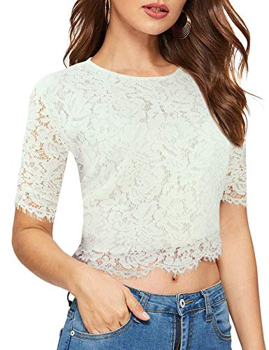 modase Women's Scalloped Trim See Through Semi Sheer Floral Lace Top White
