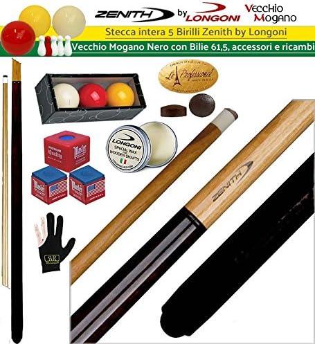 Taco completa 5 Birilli y 9 birilli-goriziana Billar Internacional Zenith by Longoni Alte Caoba negro cm.144 cuero mm.12. Bilie oah 61,5, accesorios, recambios Omaggio.: Amazon.es: Deportes y aire libre