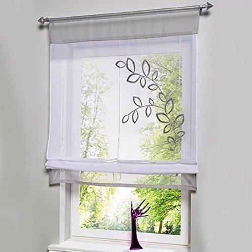 Hoomall Bestickt Gespleißte Stäbchen-Vorhänge tragen Raffrollo Gardine Grau B*H60cm*120cm