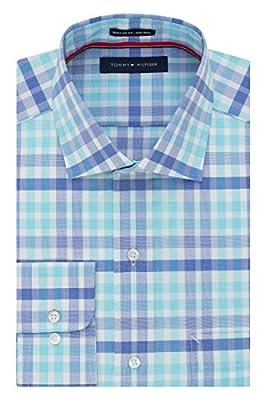 Tommy Hilfiger Men's Non Iron Regular Fit Plaid Spread Collar Dress Shirt